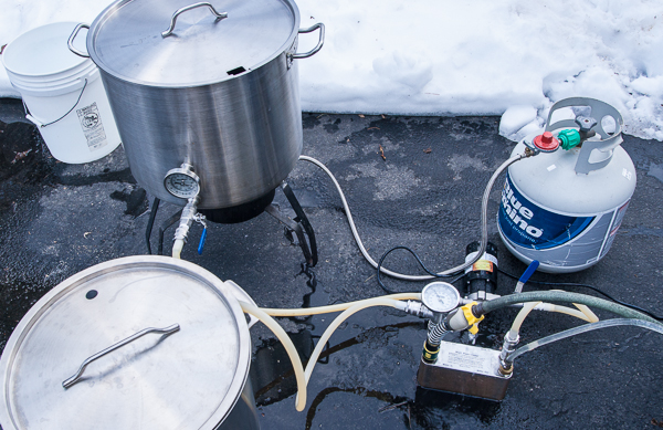 Wort chilling set-up with pump and plate chiller.